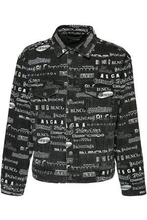 Balenciaga All Over Print Cotton Denim Jacket