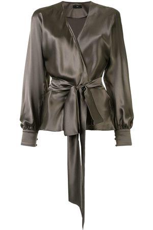 Voz Wrap silk blouse - Grey