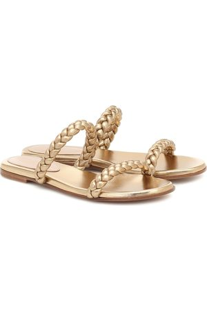 Gianvito Rossi Women Sandals - Marley metallic leather slides