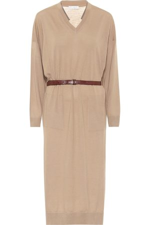 Brunello Cucinelli Belted wool and cashmere dress