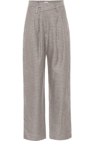 Brunello Cucinelli Checked linen, wool and silk wide-leg pants