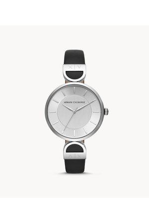Armani Aix Women'S Three-Hand Black Leather Watch Ax5323 Jewelry - AX5323-WSI