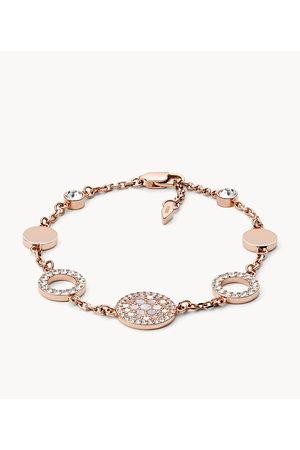 Fossil Women Bracelets - Women's Pearl Disk Station Bracelet - / Rose Gold