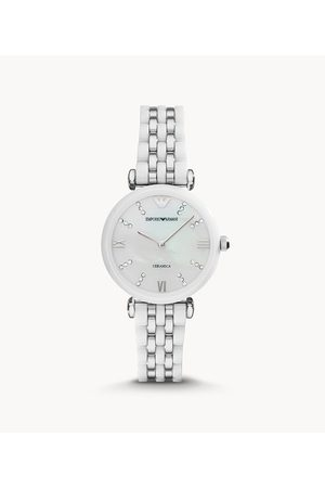Armani Emporio Women's Two-Hand White Ceramic And Stainless Steel Watch