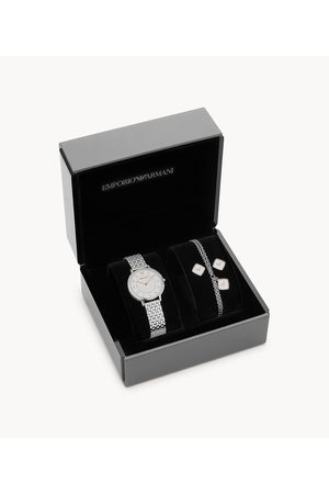Armani Emporio Women's Two-Hand Stainless Steel Watch Gift Set