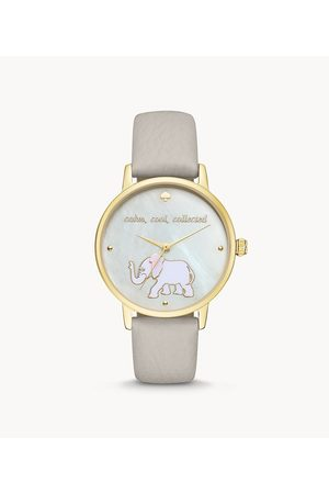 Kate Spade New York Metro Elephant Three-Hand Grey Leather Watch Ksw9024 Jewelry - KSW9024-WSI