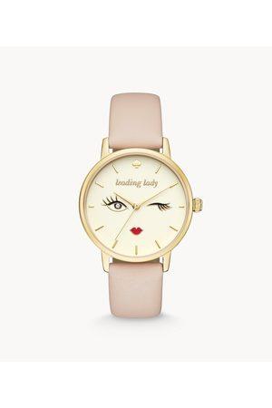 Kate Spade New York Women's Metro Three-Hand Vachetta Leather Winking Eye Watch