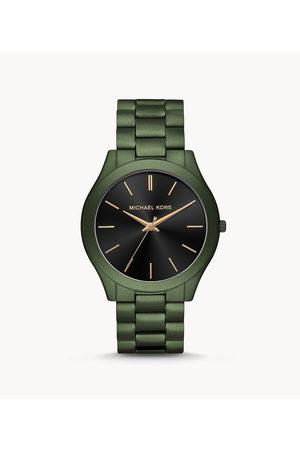 Michael Kors Men'S Slim Runway Three-Hand Olive Ip Stainless Steel Watch Mk8715 Jewelry - MK8715-WSI