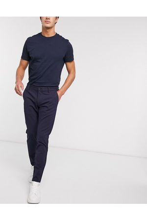 Only & Sons Stretch smart pants in navy pinstripe