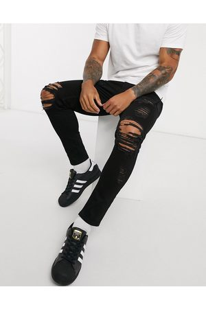 ASOS Cropped skinny jeans in with heavy rips
