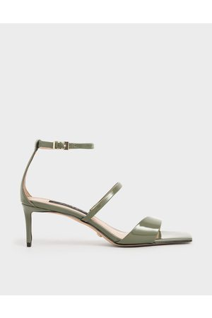CHARLES & KEITH Women Sandals - Patent Leather Strappy Heeled Sandals