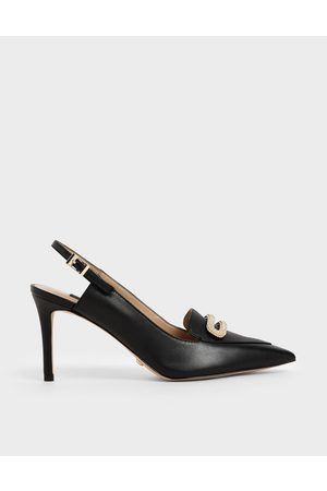 CHARLES & KEITH Heels - Leather Metallic Accent Pumps