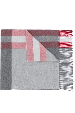 Bally Fringed check scarf - Grey