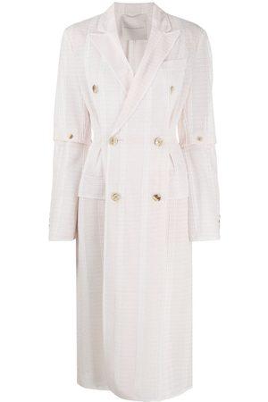 MARCO DE VINCENZO Women Coats - Double breasted woven striped coat