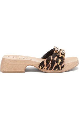 Roger Vivier Viv Leather Clog Slides - Womens - Leopard