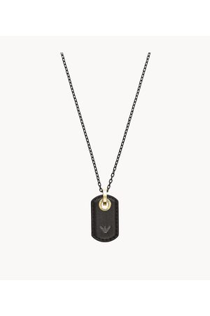 Armani Emporio Men's Emporio Gunmetal Stainless Steel Dog Tag Necklace