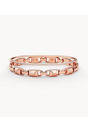 Michael Kors Women's Women's Double Row 14k -plated Sterling Silver Bracelet