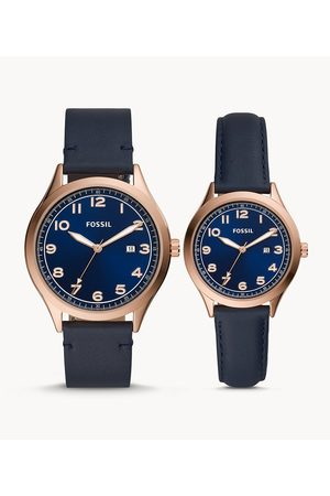 Mens Men Watches - Fossil Men's His And Her Wylie Three-Hand Navy Leather Watch Box Set