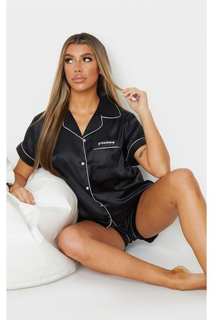 PRETTYLITTLETHING Grumpy Satin Short Pj Set