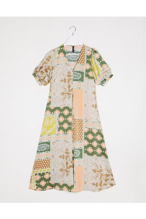 Y.A.S Maxi dress with v neck and puff sleeves in mixed scarf print-Multi