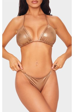 PRETTYLITTLETHING Metallic Snake Tie Side Bikini Bottoms