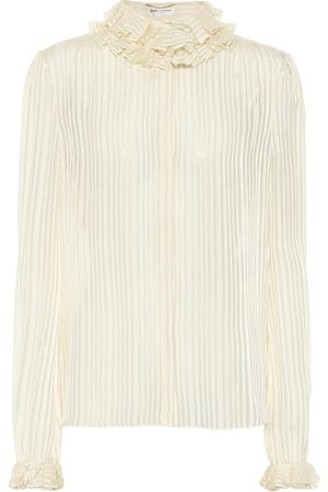 Saint Laurent Striped lamé silk-blend top
