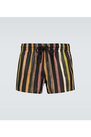 Commas Latte striped linen shorts