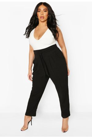 Boohoo Womens Plus High Waisted Pleated Belted Wide Leg Pants - - 20