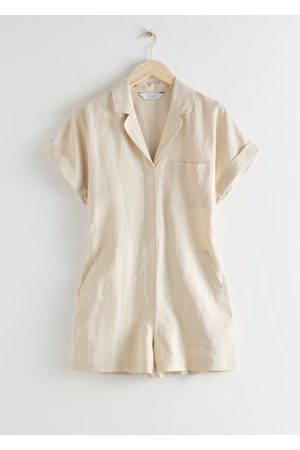 & OTHER STORIES Boxy Lyocell Linen Blend Playsuit