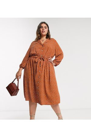 ASOS ASOS DESIGN Curve button through ruched waist midi dress in rust spot-Multi