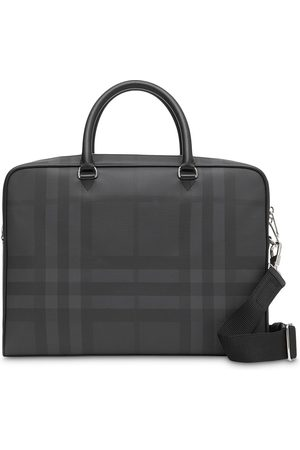 Burberry London Check and Leather Briefcase - Grey