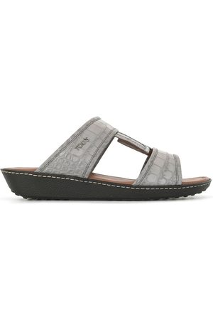 Tod's Croc-effect leather sandals - Grey