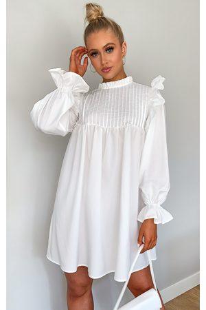 PRETTYLITTLETHING Women Casual Dresses - Ruffle Binding Detail Shirt Dress