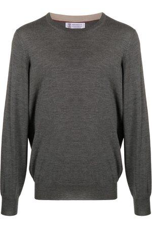 Brunello Cucinelli Men Sweaters - Round neck jumper - Grey
