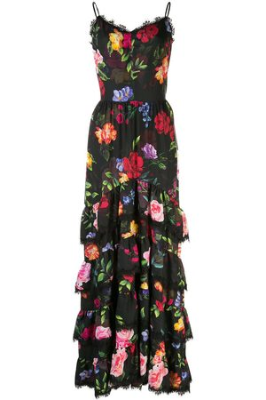 Marchesa Notte Floral print tiered gown