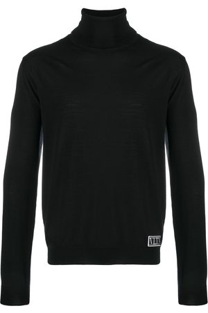 VALENTINO Logo-patch roll-neck jumper