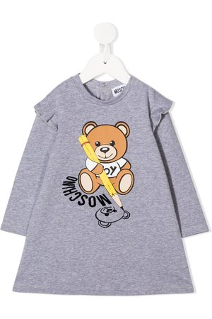 Moschino Baby Printed Dresses - Teddy Bear print sweatshirt dress - Grey