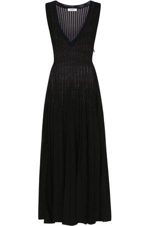 CASASOLA V Neck Viscose Blend Midi Dress