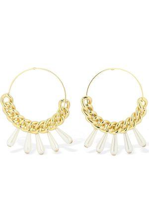 ROSANTICA Women Earrings - Canasta Hoop Earrings W/imitation Pearls