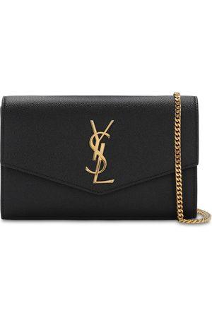 Saint Laurent Women Wallets - Uptown Grained Leather Wallet Chain