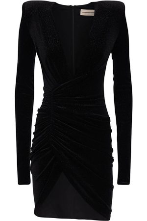 ALEXANDRE VAUTHIER Draped Stretch Velvet Mini Dress