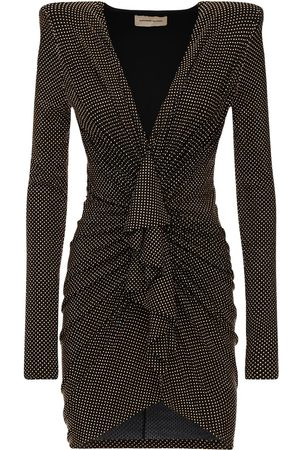 ALEXANDRE VAUTHIER Draped Micro Studded Jersey Mini Dress