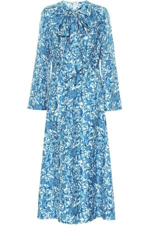 VALENTINO Printed silk-twill midi dress