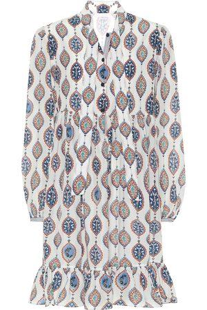 Chloé Printed habutai-silk tie-neck minidress
