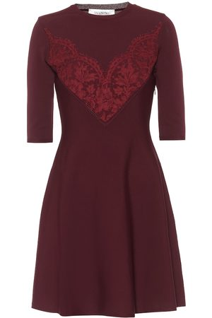VALENTINO Lace-trimmed knit minidress