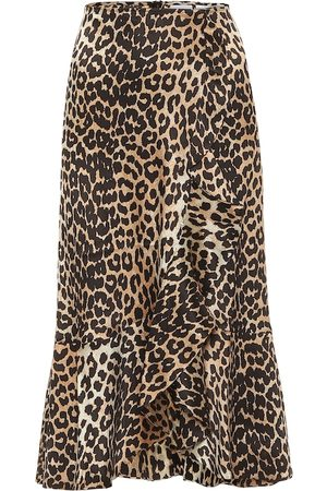 Ganni Leopard-print stretch-silk midi skirt