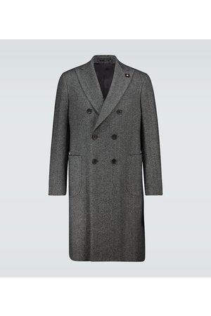 LARDINI Double-breasted herringbone coat