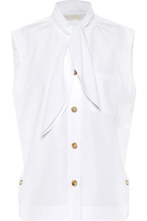 Chloé Tie-neck cotton-poplin blouse
