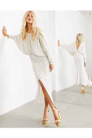 ASOS Embellished pearl batwing sleeve maxi dress