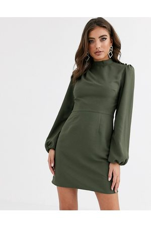 ASOS High neck mini dress with long sleeves in khaki